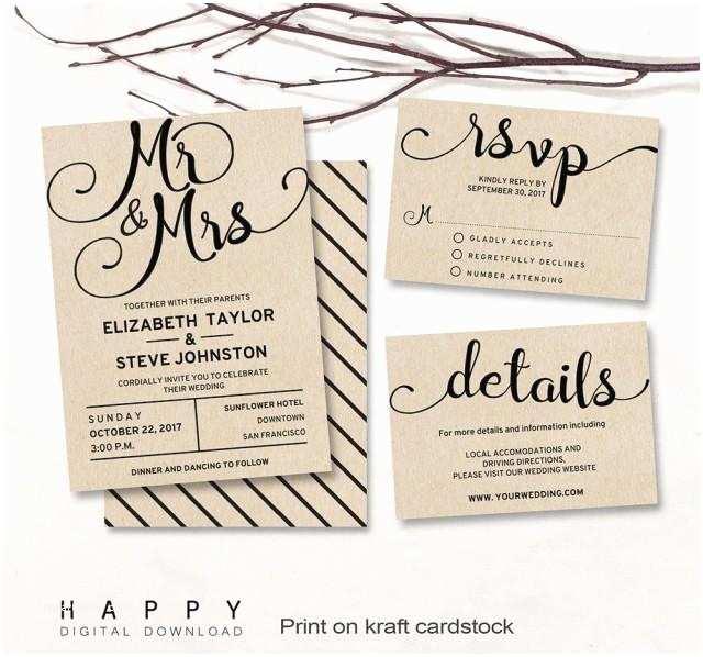 Wedding Invitation Pdf Printable Wedding Invitation Set Editable Modern Wedding