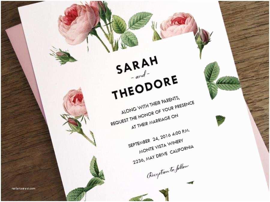 printable wedding invitations vintage pink roses instant wedding invitations pdf wedding invite vintage invite