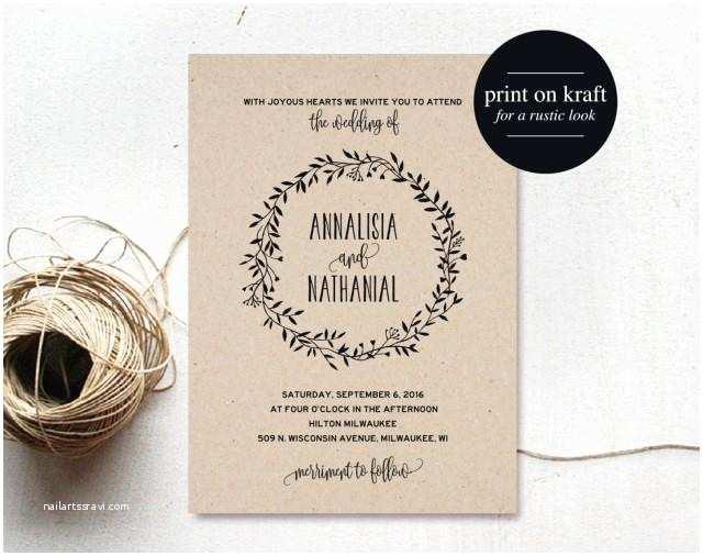 Wedding Invitation Pdf Rustic Wedding Invitation Printable Wreath Country