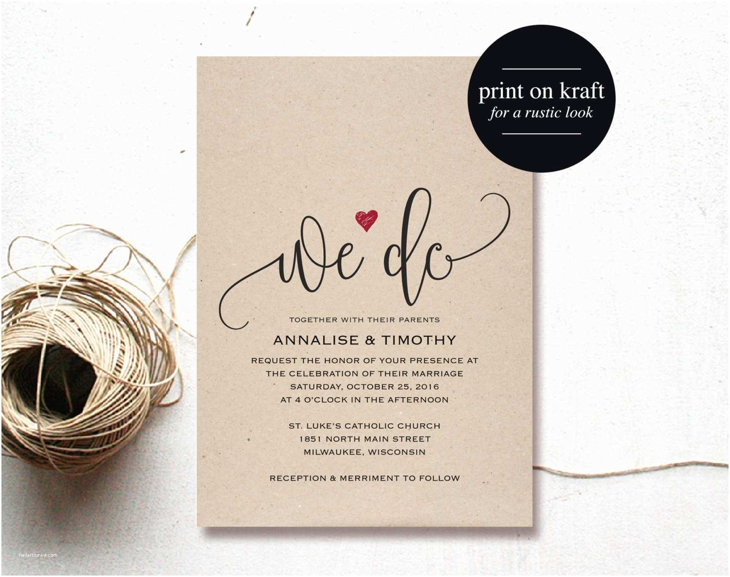 Wedding Invitation Pdf We Do Wedding Invitation Template Rustic by Blisspaperboutique