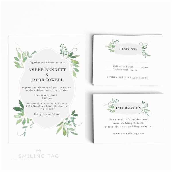 Wedding Invitation Pdf Wedding Invitation Printable Set Watercolor Botanical