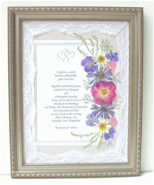 Wedding Invitation Picture Frame Framed Wedding Invitations with Real Pressed Flowers