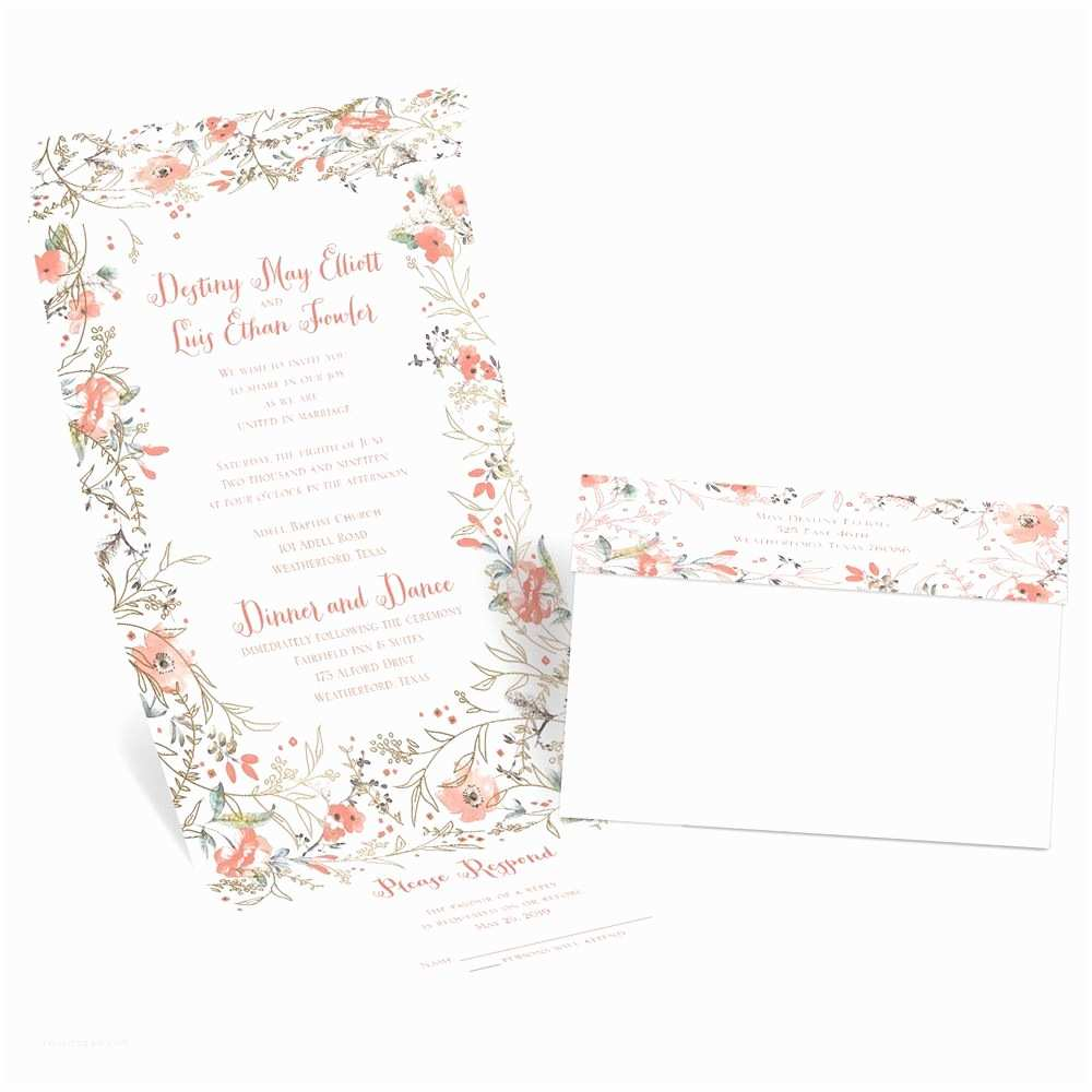 Wedding Invitation Picture Frame Wildflower Frame Foil Seal and Send Invitation