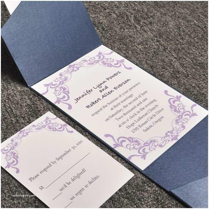 Wedding Invitation Pieces Elegant Purple Damask Card and Blue Pocket Affordable