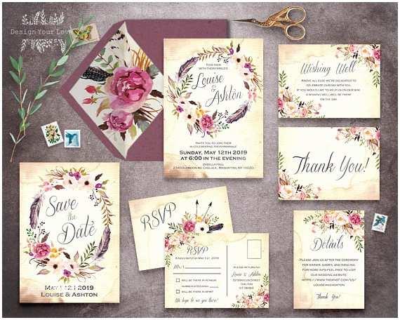 Wedding Invitation Pieces Floral Wedding Invitation Set Printable Boho Wedding