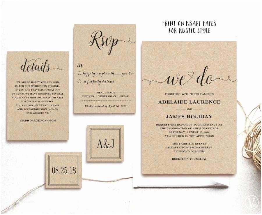 Wedding Invitation Pieces Rustic Wedding Invitation Template 5 Piece Printable
