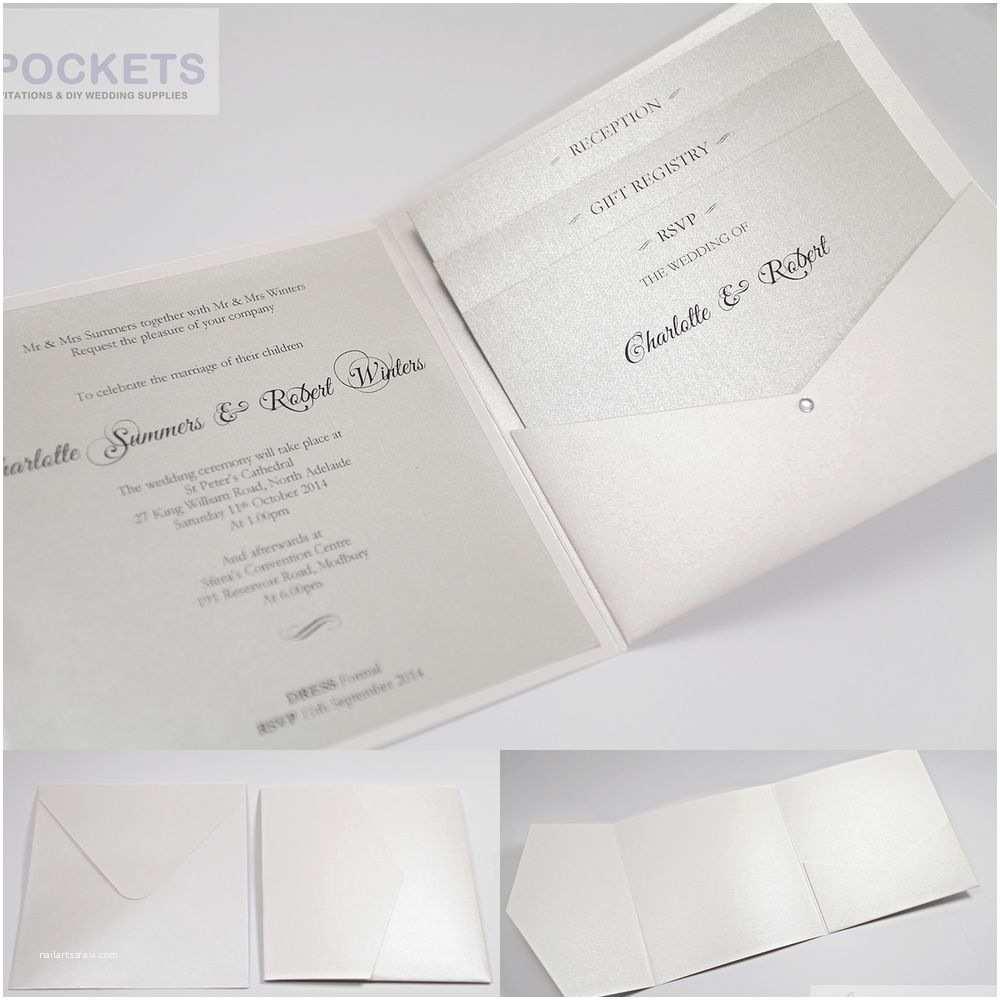 Wedding Invitation Pocket Envelopes Ice White Metallic Square Wedding Invitation Envelopes Diy