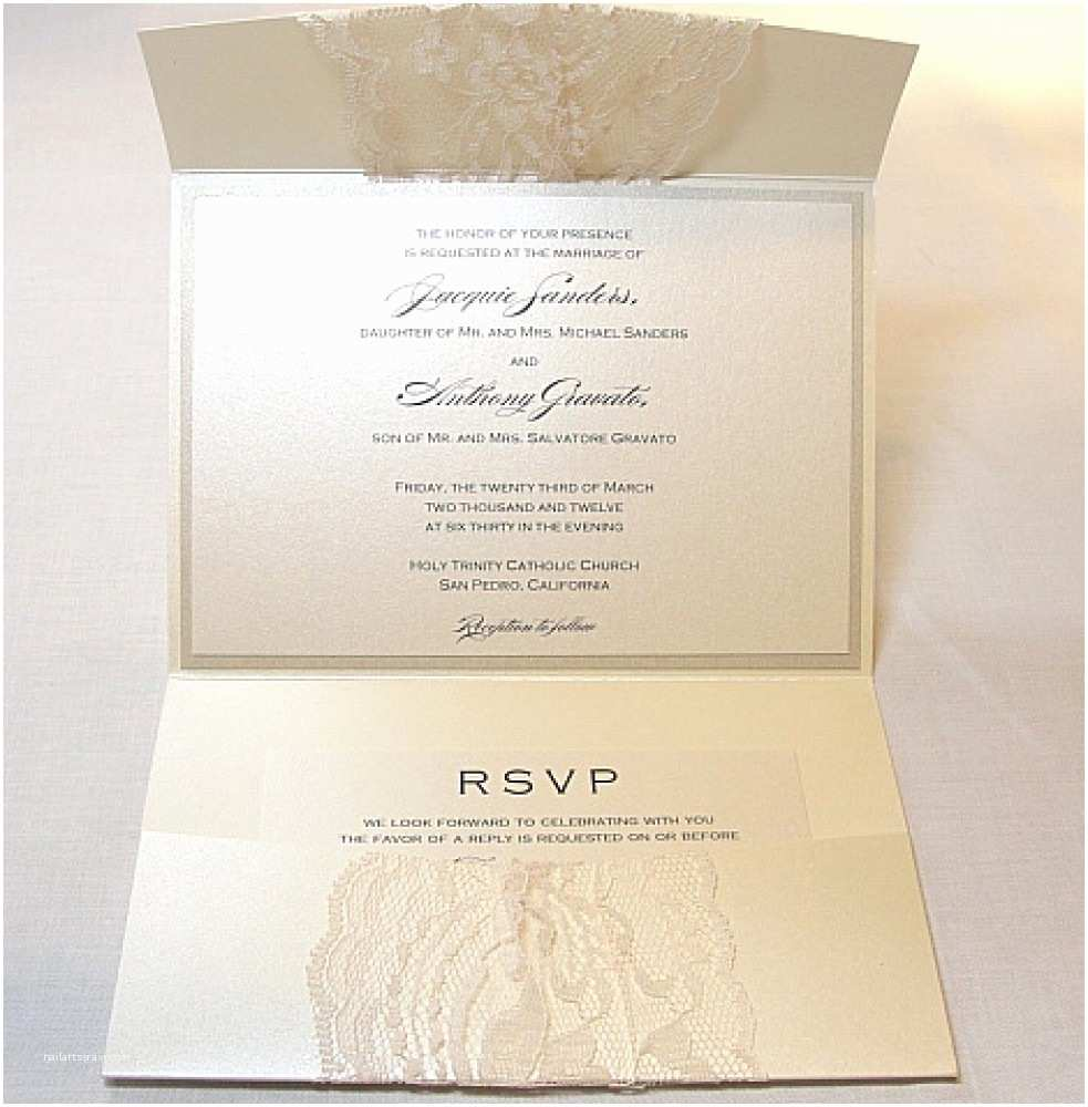 Wedding Invitation Pocket Envelopes Lace Wedding Invitations Pocket
