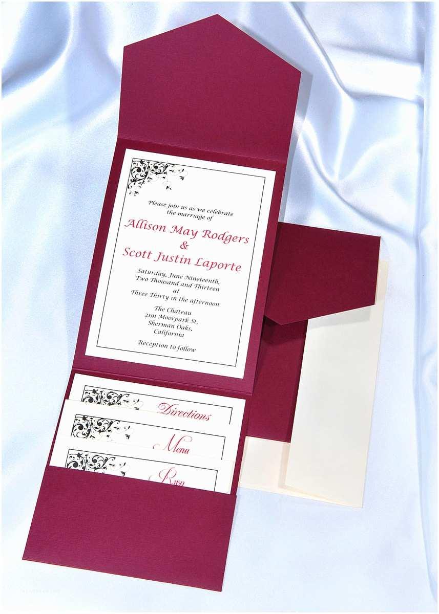 Wedding Invitation Pocket Envelopes Print Your Own Burgundy Wedding Invitations Burgundy