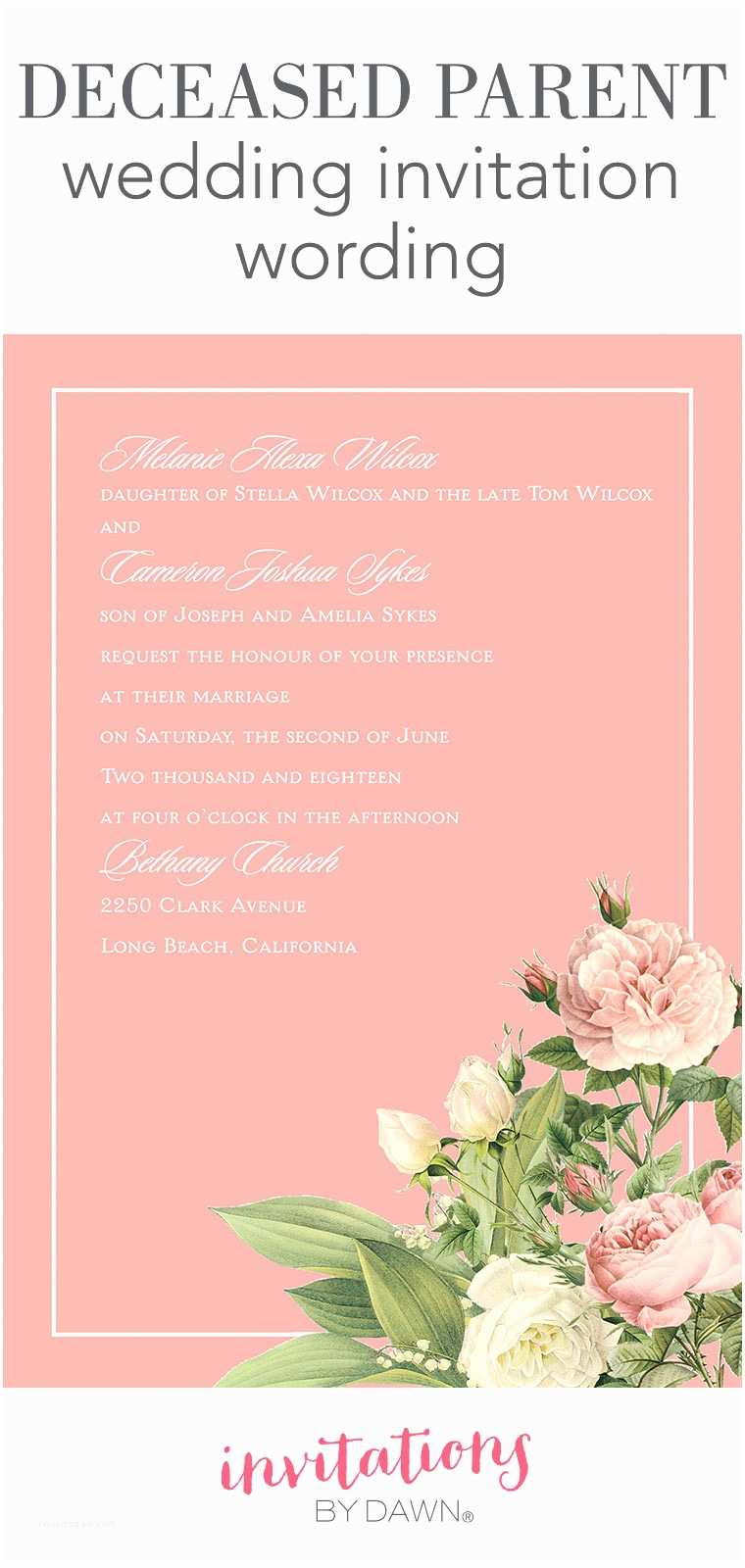 Wedding Invitation Poems Wedding Invitation Wording Samples with Deceased Parent