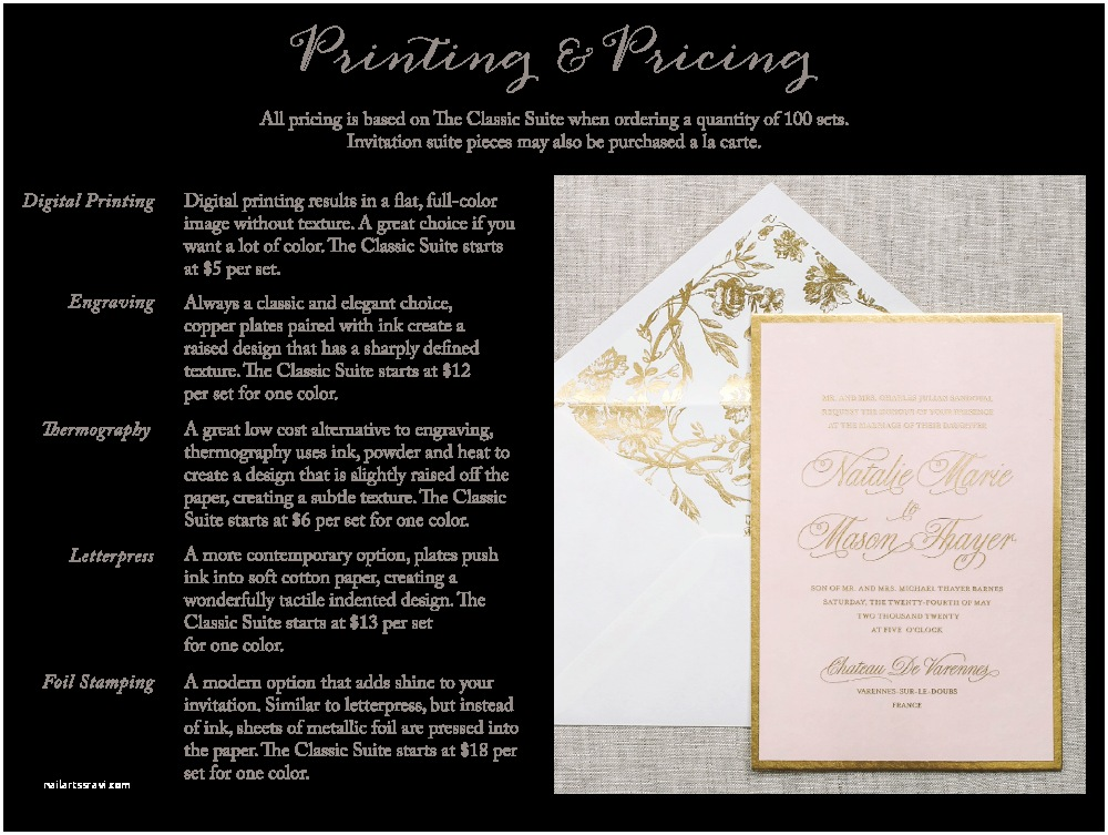 Wedding Invitation Pricing Guide San Diego Wedding Invitations