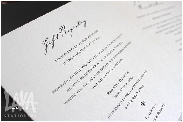 Wedding Invitation Registry Wording Lava Stationery Wedding Invitation Gift Registry