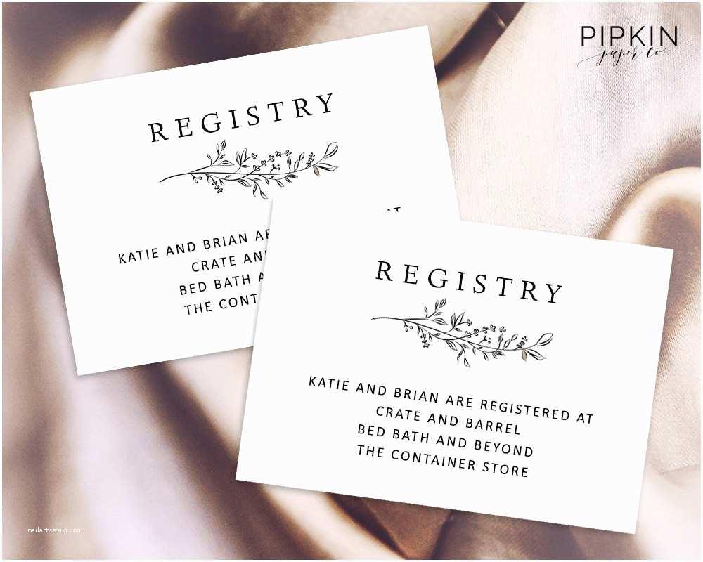 Wedding Invitation Registry Wording Wedding Registry Card Enclosure Card Template Baby Shower