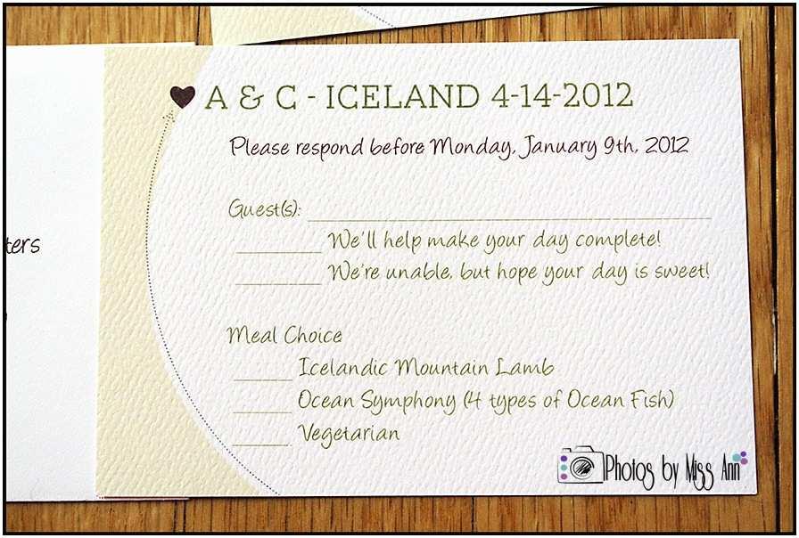 Wedding Invitation Response Card Destination Wedding Rsvp Cards
