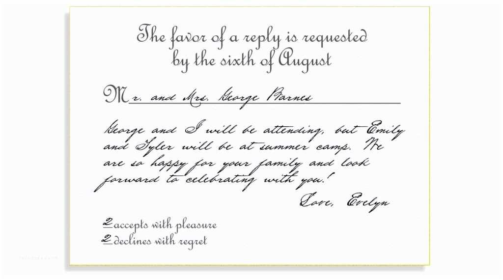 Wedding Invitation Response Card Rsvp Etiquette Traditional Favor Accepts Regrets Placement