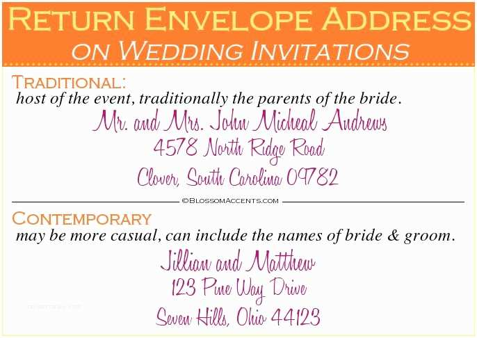 return address on wedding invitations