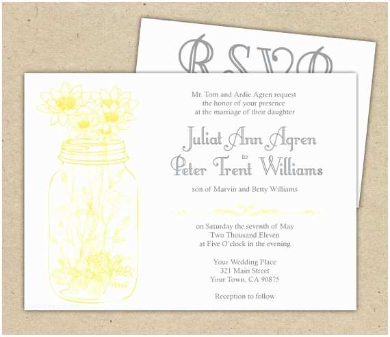 Wedding Invitation Rsvp Wording Samples Rustic Wedding Invitations and Rsvp Mason Jar and by