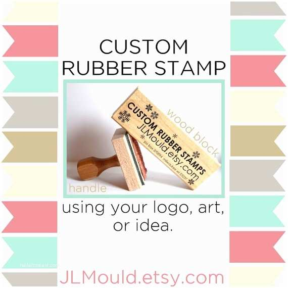 Wedding Invitation Rubber Stamps 2x2 Custom Personalized Modern Red Rubber Stamp Mounted
