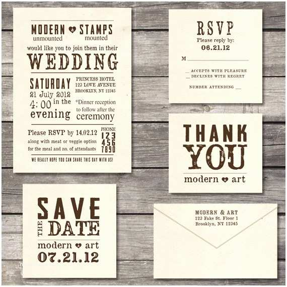 Wedding Invitation Rubber Stamps Wedding Invitation Stamp Suite Custom Wedding by