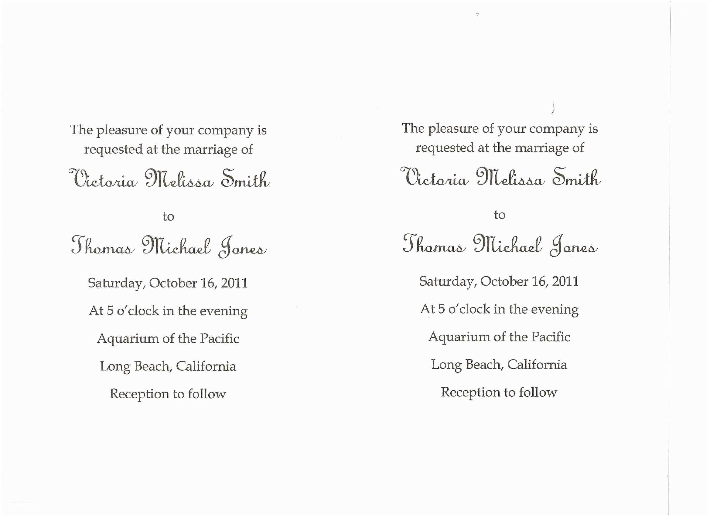 Wedding Invitation Sample Wording Card Template Invitation Card Wording Card Invitation