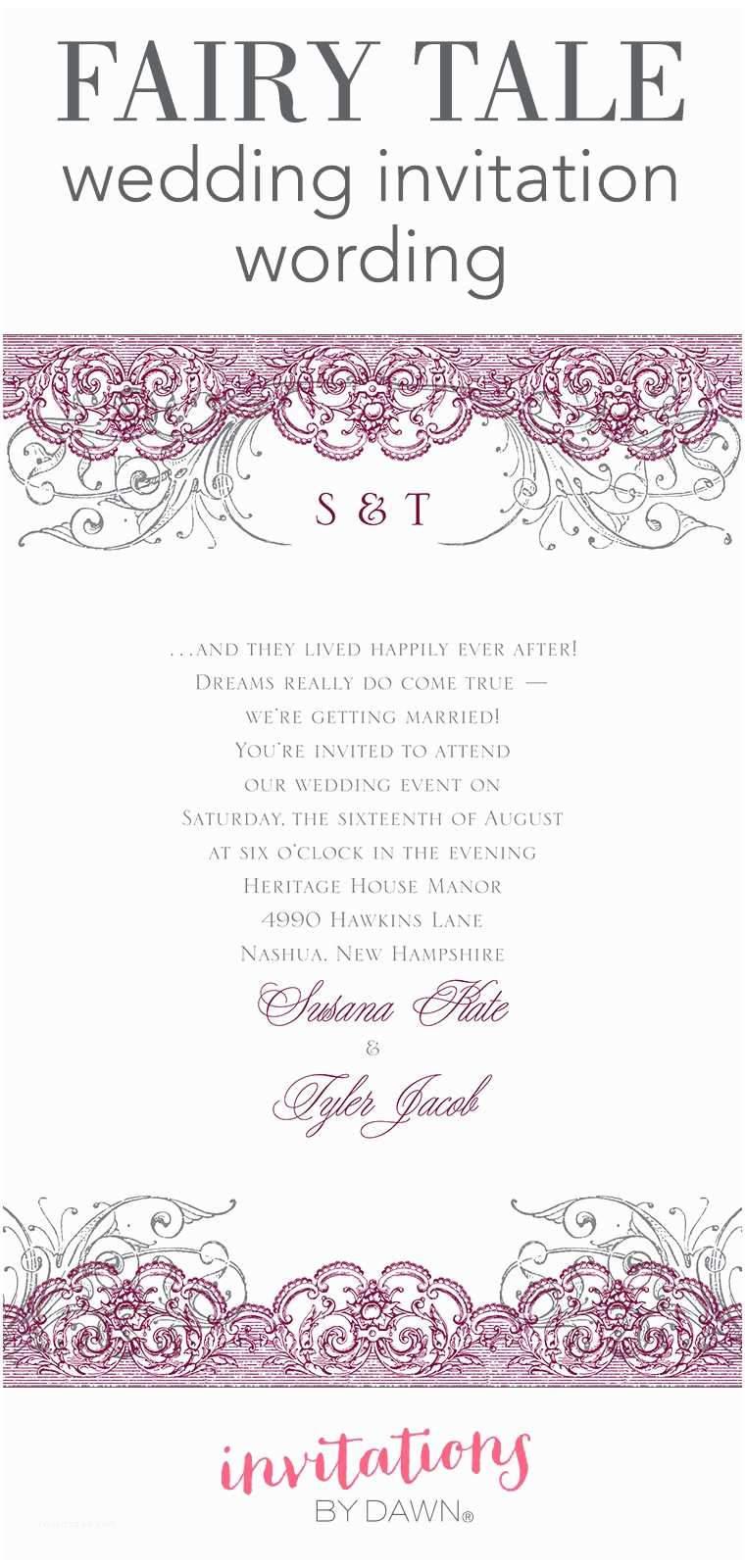 Wedding Invitation Sample Wording Fairy Tale Wedding Invitation Wording