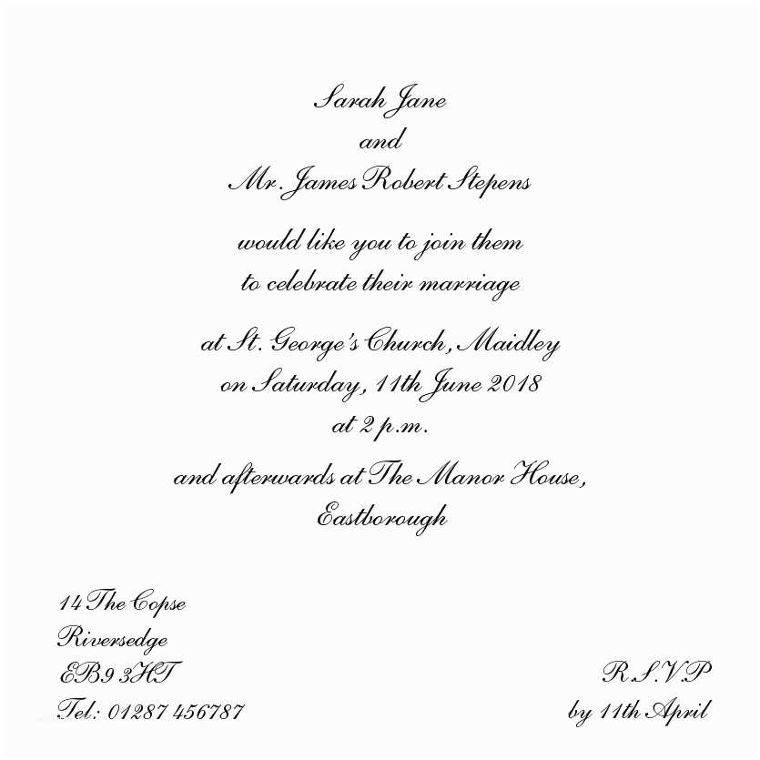 Wedding Invitation Sample Wording Wedding evening Invitation Wording Template
