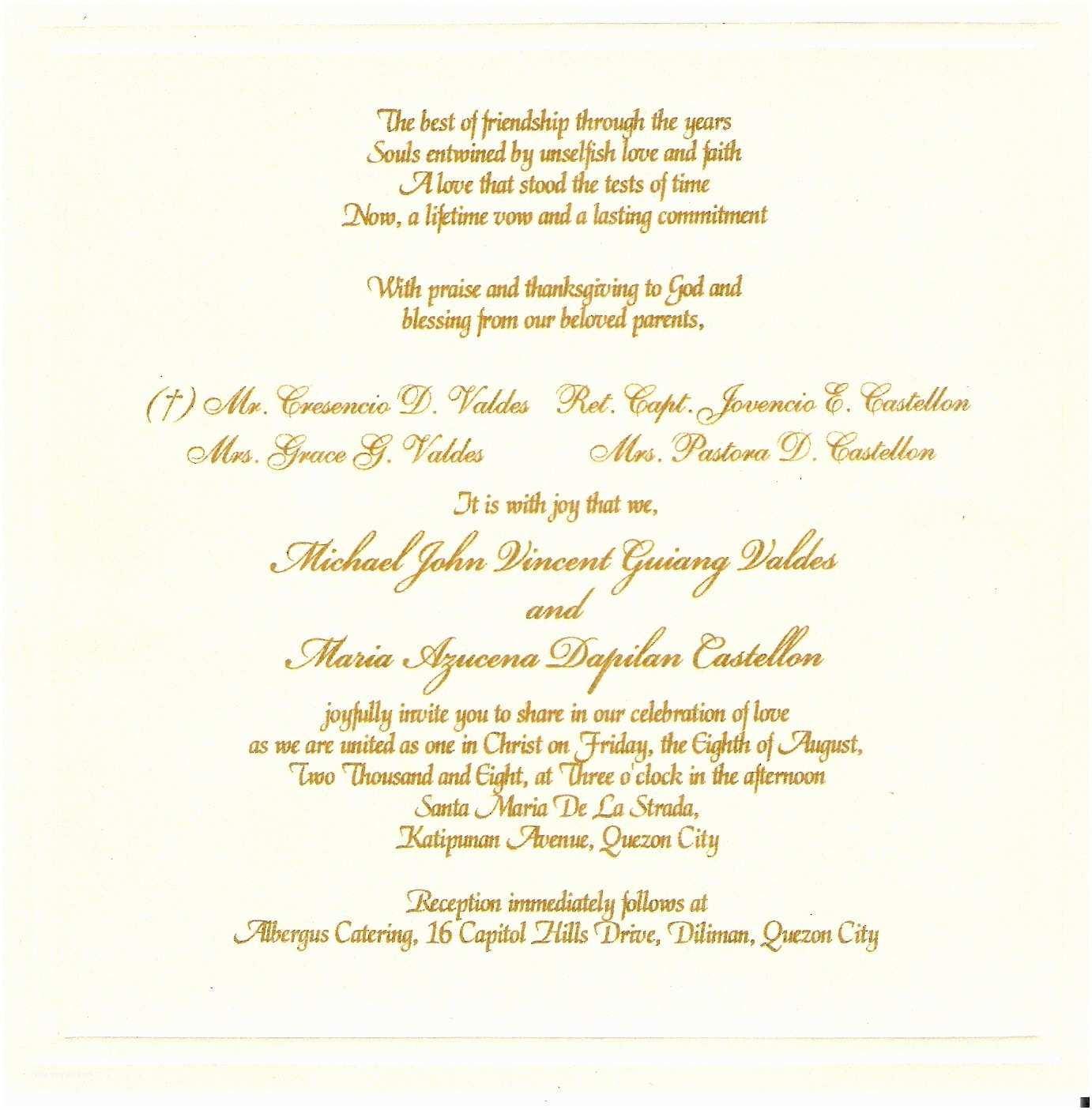 Wedding Invitation Sample Wording Wedding Invitation