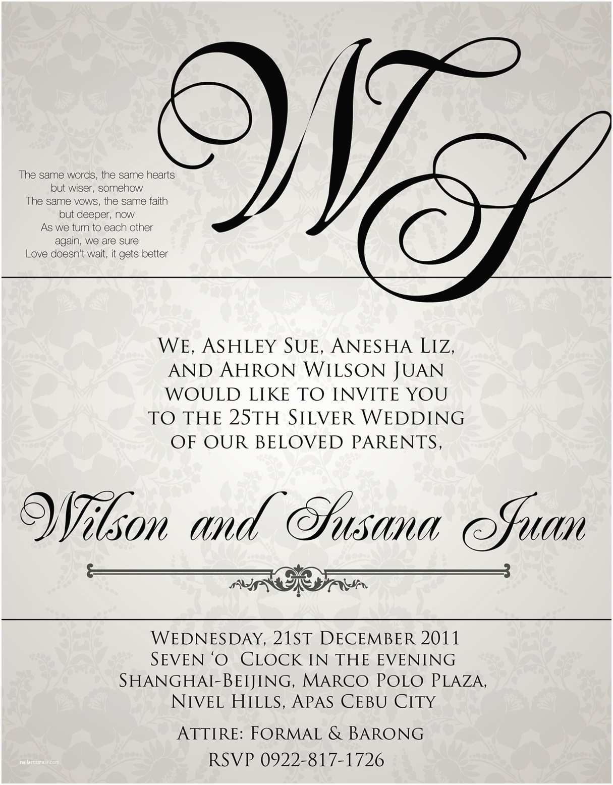 Wedding Invitation Sample Wording Wedding Invitation Wording Sample — Criolla Brithday