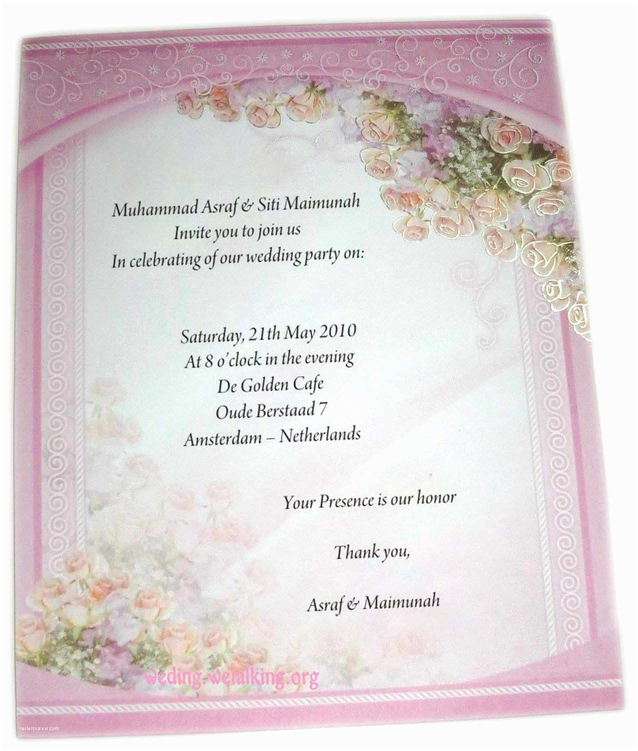 Wedding Invitation Sample Wording Zahra Alya Expressions Of Invitation and Followed by the