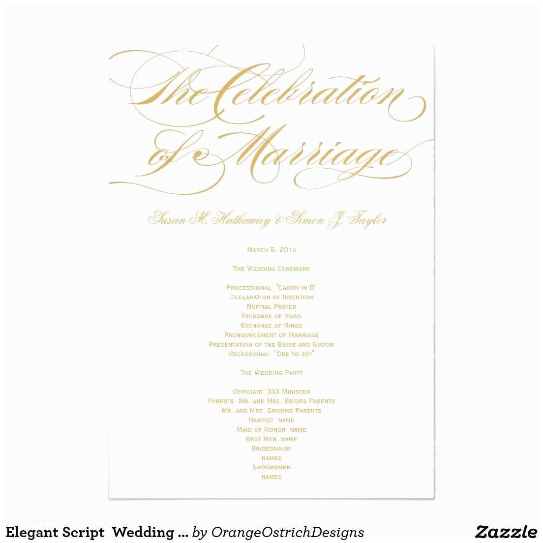 Wedding Invitation Script Elegant Script Wedding Program Gold 5x7 Paper Invitation