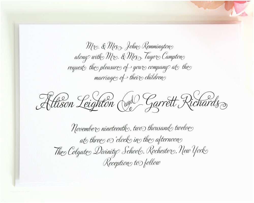 Wedding Invitation Script Fairytale Wedding Invitation In All Script On White