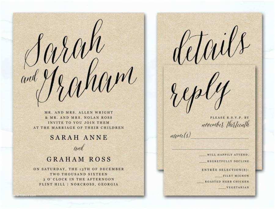 Wedding Invitation Script Printable Wedding Invitation Rustic Kraft Wedding