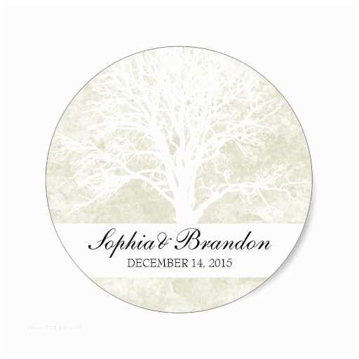 Wedding Invitation Seals Cream Winter Wedding Invitation Seals Trees Sticker