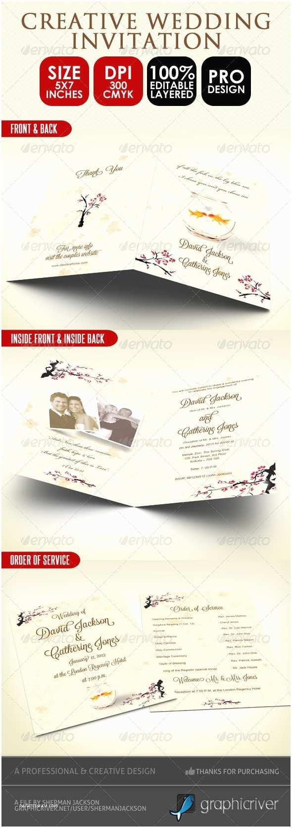 Wedding Invitation Service Creative Wedding Card & order Of Service Psd by