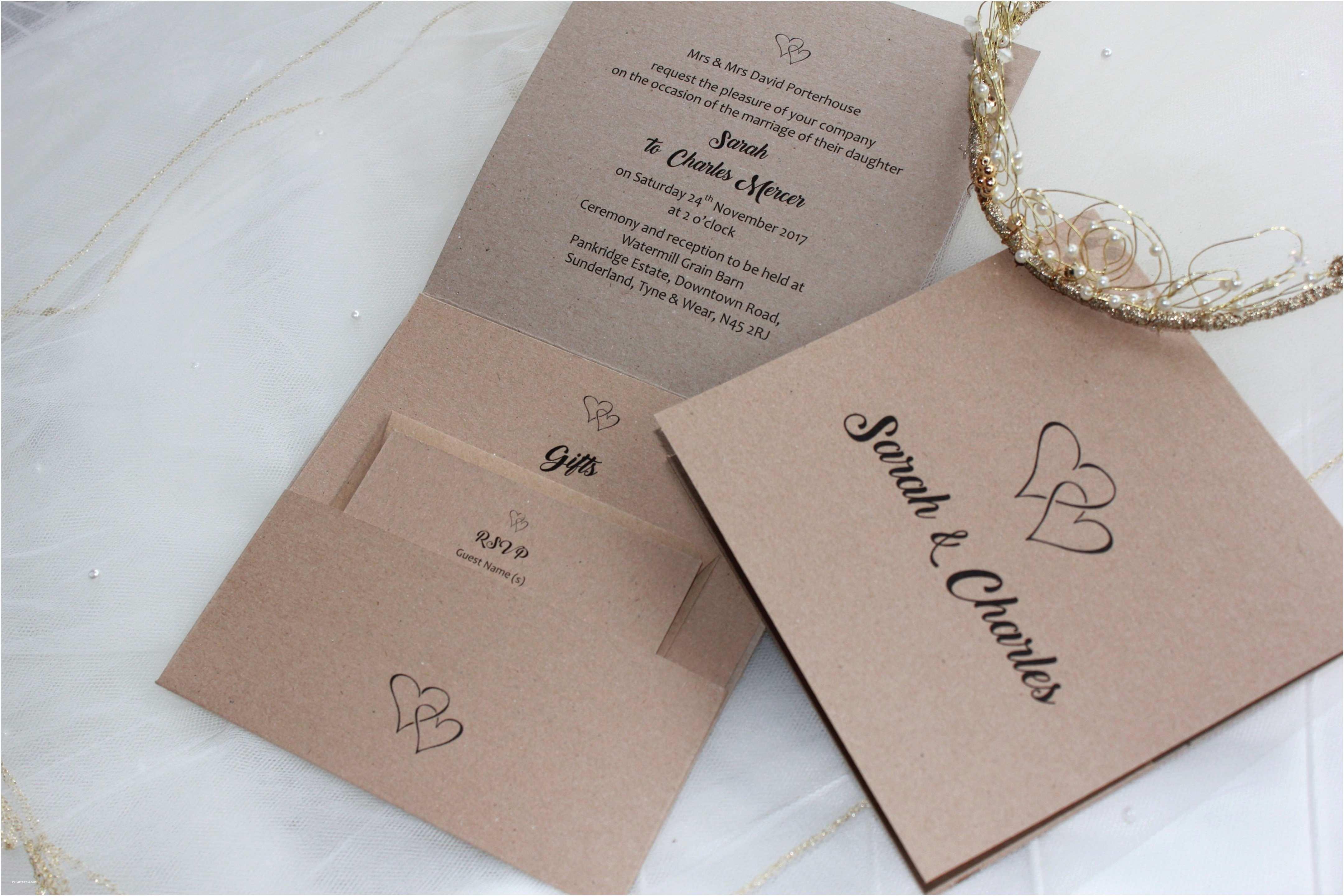Wedding Invitation Service Rustic Kraft Pocketfold Wedding Invitations