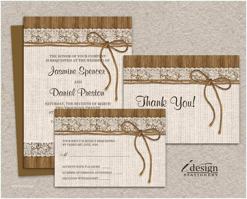 Wedding Invitation Sets Diy Printable Rustic Wedding Invitation Sets Burlap and Lace