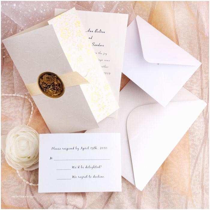 Wedding Invitation Sets Elegant Gold Embossed Floral Art Deco Tri Fold Wedding