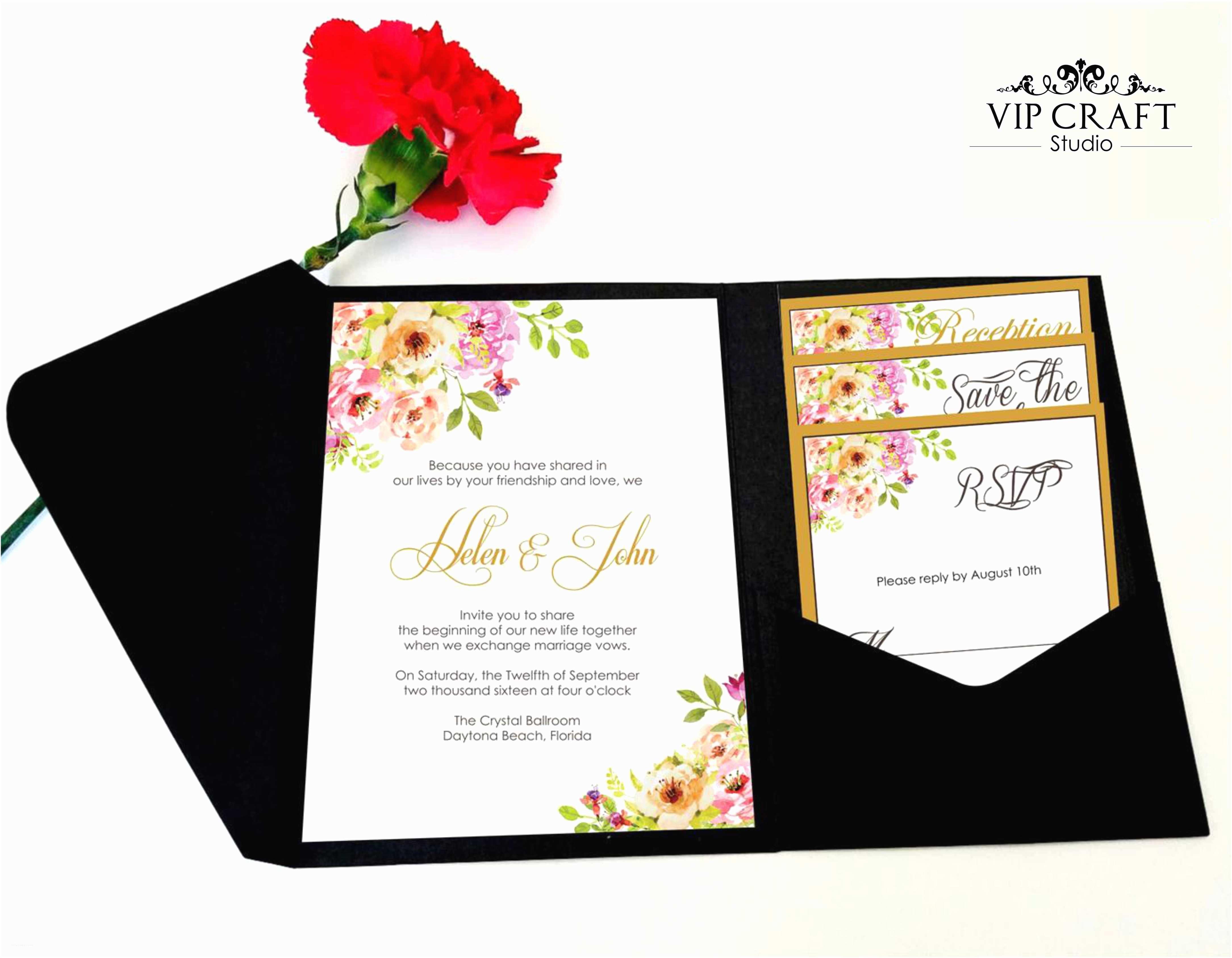 Wedding Invitation Sets Golden Flower Pocket Fold Wedding Invitation Set Of 10