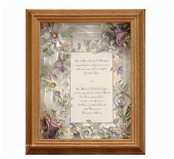 Wedding Invitation Shadow Box Framed Wedding Invitation Spring Wedding Lavender Wedding
