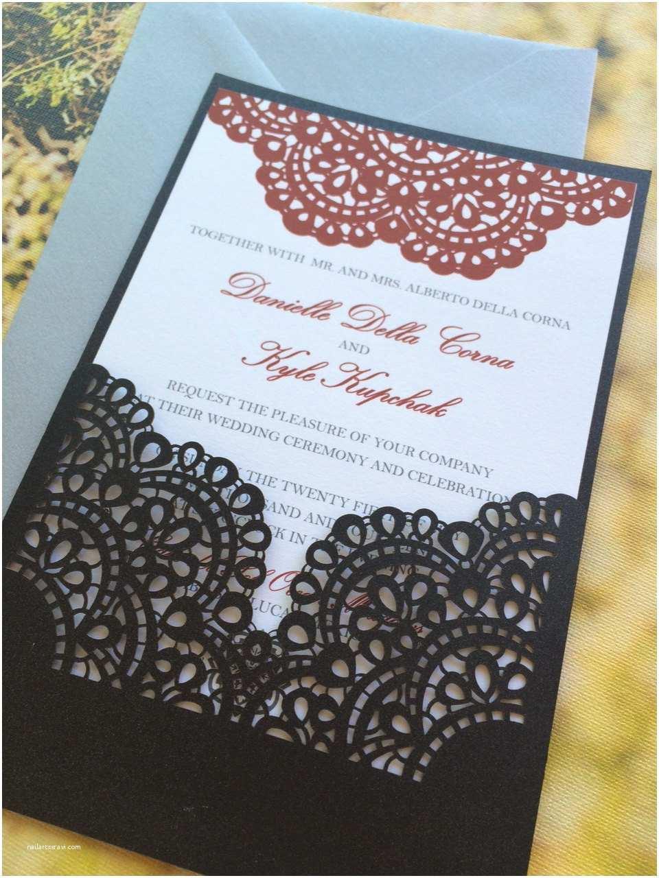 Wedding Invitation Sleeves Lasercut Wedding Invitation Sleeve Pocket Romantic Lace