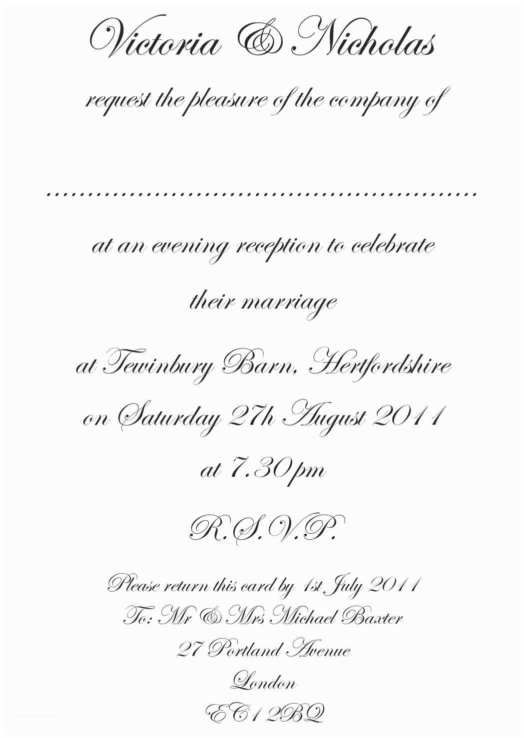 Wedding Invitation Sms formal Wedding Invitation Templates