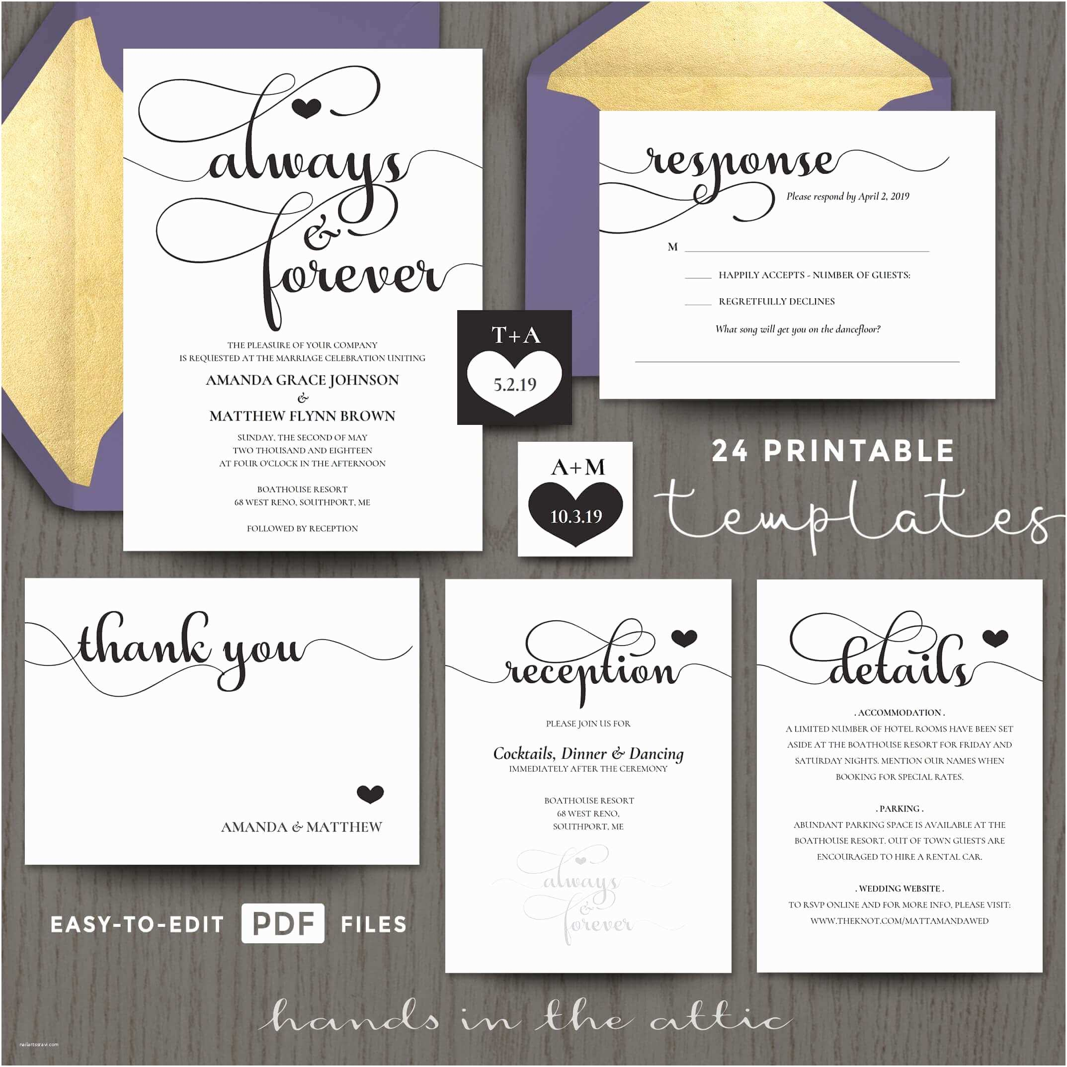 Wedding Invitation software Always and forever Wedding Invitation Templates