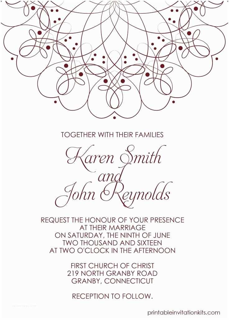 Marriage Invitation Card Template Free