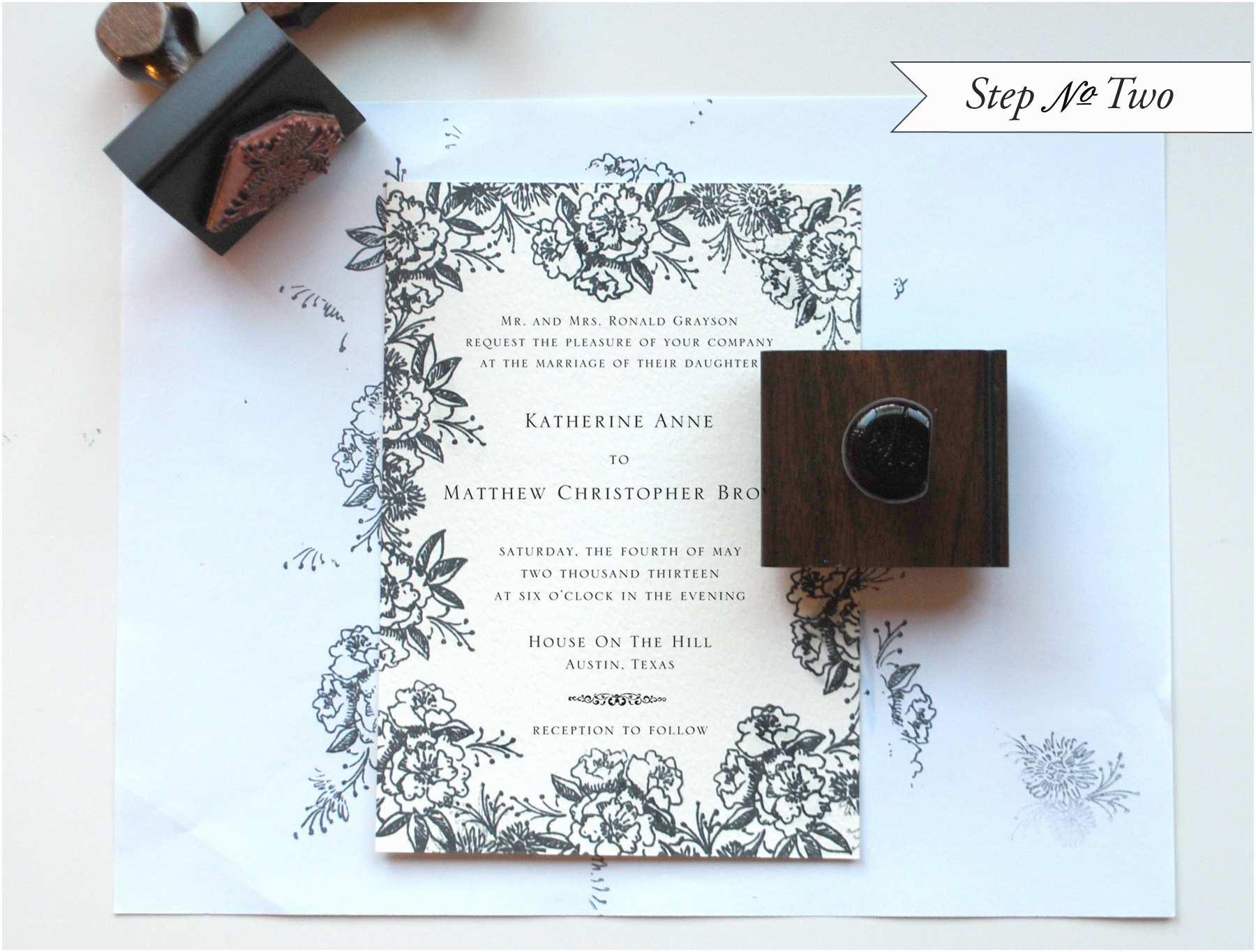 Wedding Invitation Stamps Diy Rubber Stamp Floral Wedding Invitations