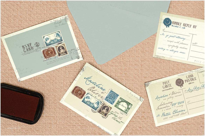 Wedding Invitation Stamps Vintage Stamp Wedding Invitation by Klapauciusco