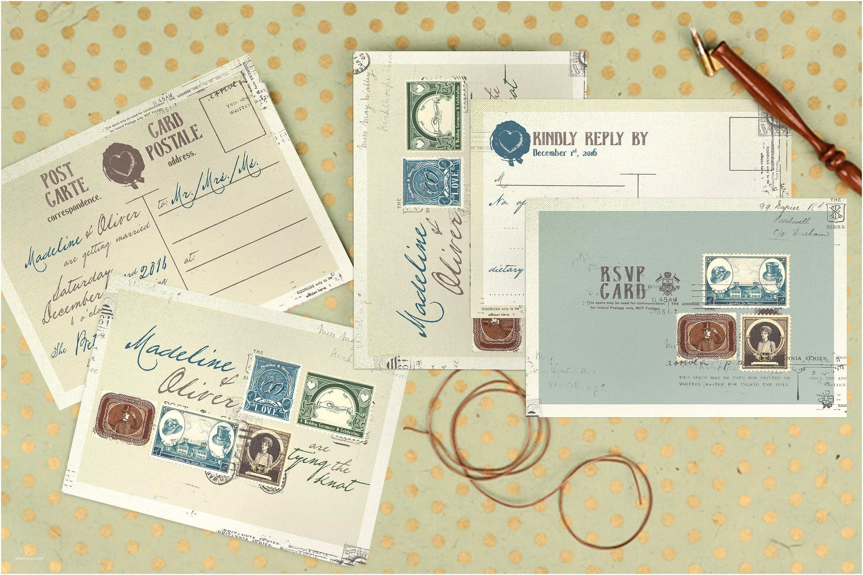 Wedding Invitation Stamps Vintage Stamp Wedding Suite Invitation Templates