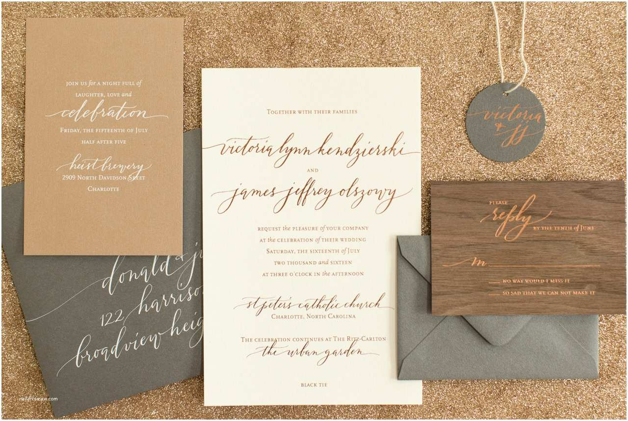 Wedding Invitation Stationery Rustic Boho Wood and Copper Foil Wedding Invitations