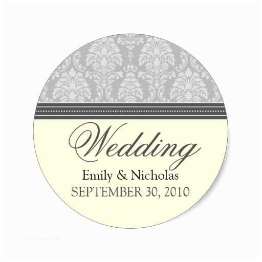 Wedding Invitation Stickers Charming Damask Wedding Invitation Seal Silver Stickers