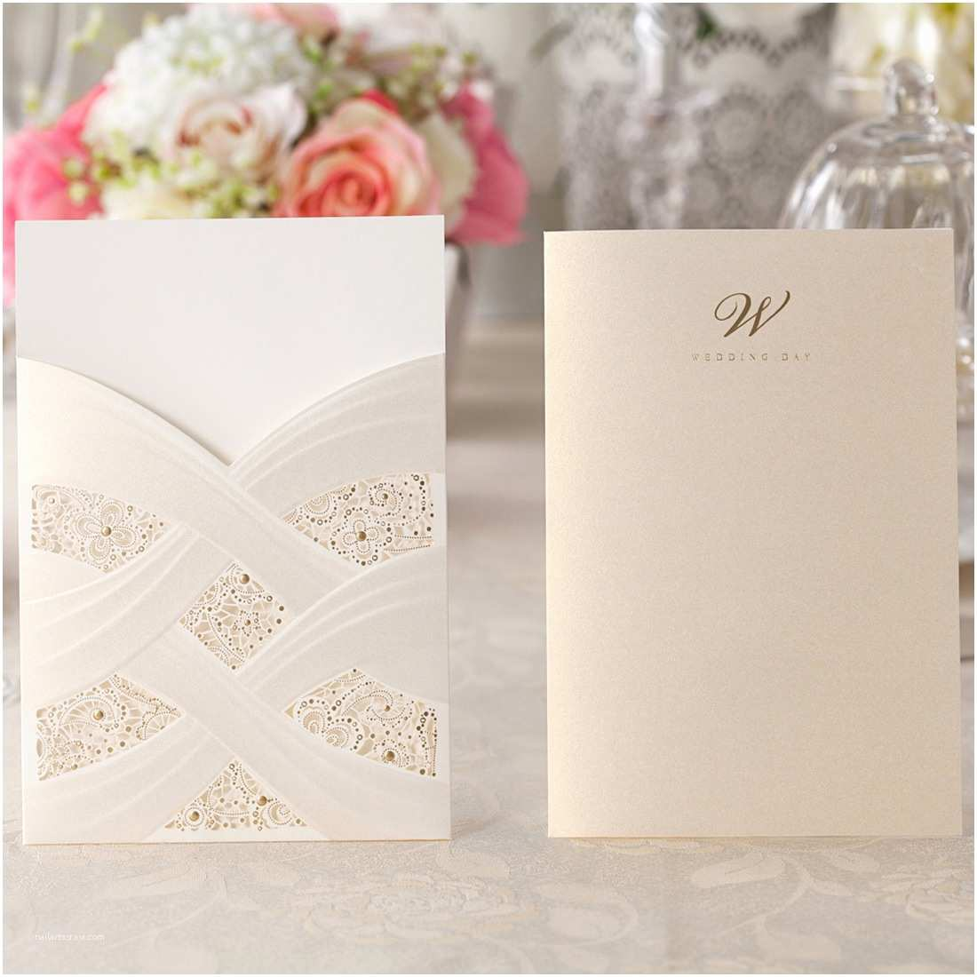 Wedding Invitation Stickers Pocket Wedding Invitation Card Kit Cw060 with Envelope