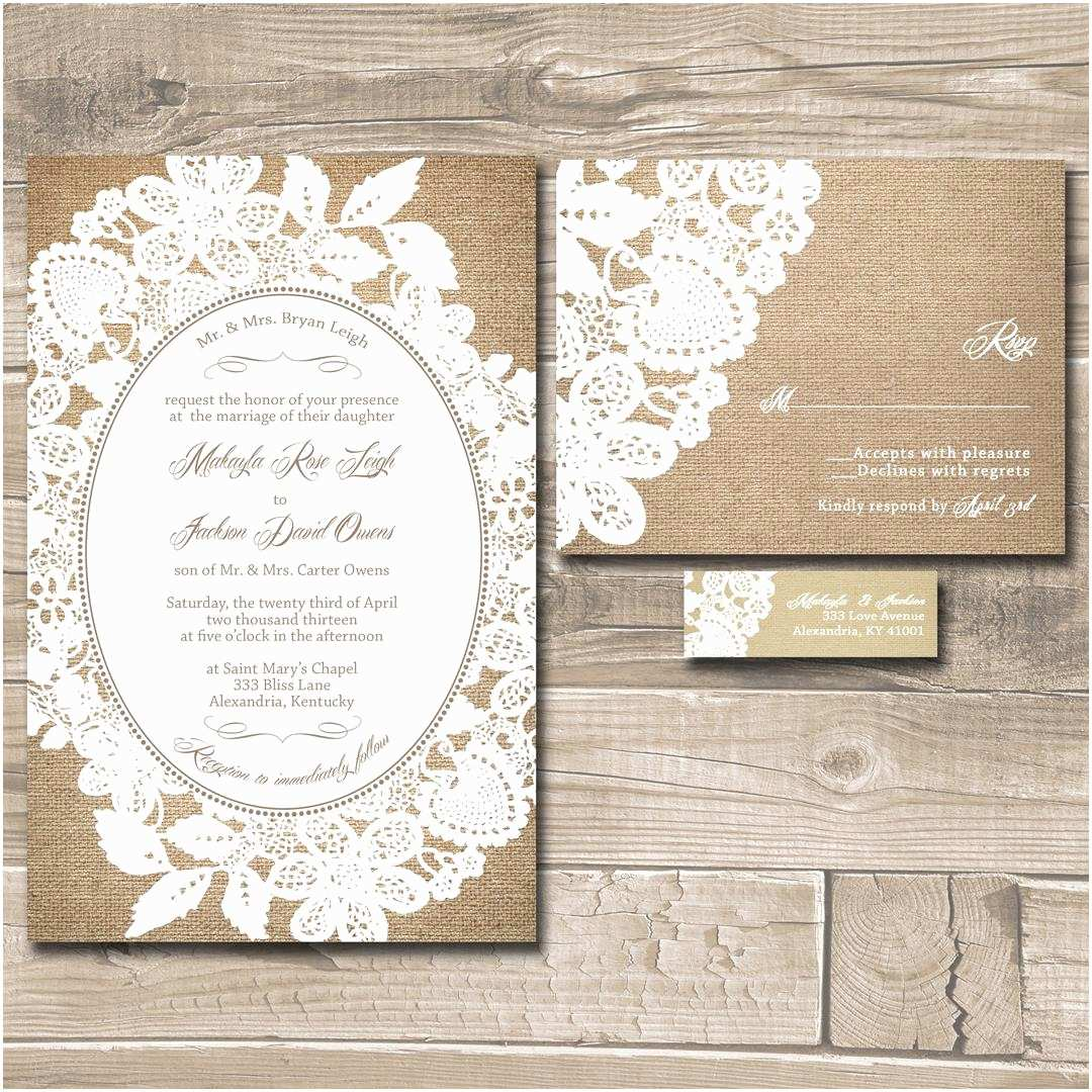 Wedding Invitation Suite Lace Wedding Invitation Suite Burlap and Lace Custom